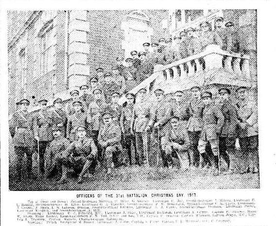 OFFICERS OF THE 31st BATTALION, CHRISTKIAS DAY, 1917. (1918, March 28). The Week (Brisbane, Qld. : 1876 - 1934), p. 13. http://nla.gov.au/nla.news-article188923487