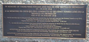 Memorial plaque on the Cobbers sculpture.