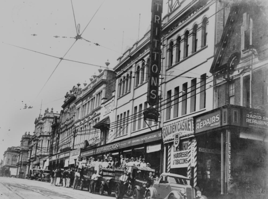 View of Trittons furniture shop on George Street Brisbane ca. 1935
