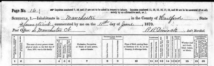 1870 census REDDAN and ROACH