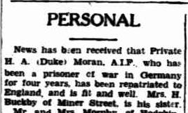 MORAN Duke aka Hugh Ntn Miner 24 May 1945
