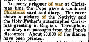 Vatican diary and card 1942