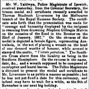 MELVIN Qld TImes 3 Sept 1887 p5