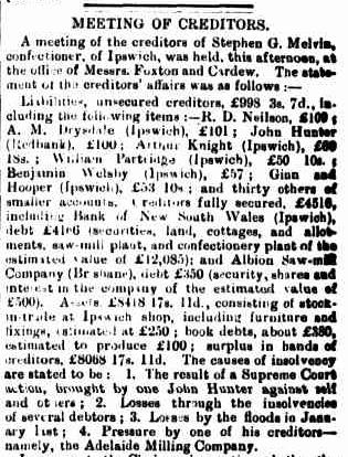 MELVIN Qld Times April 1887