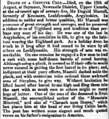 McCOLL Dugald Inverness Courier 26 Oct 1848 p2