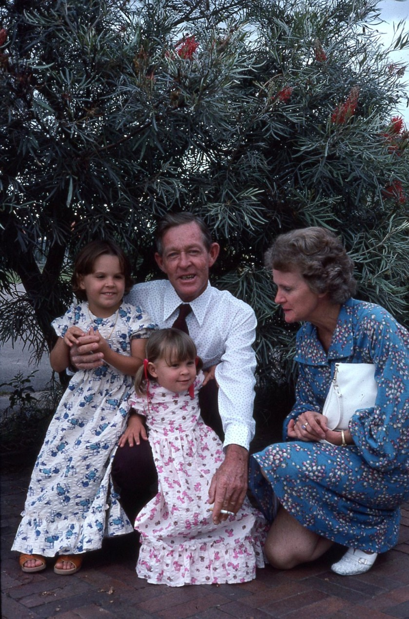 Grandparents Joan and Norman Kunkel with Louisa and Rach 1976