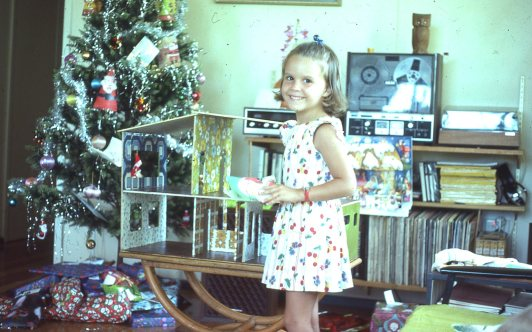 Louisa and the dolls house Xmas 1976