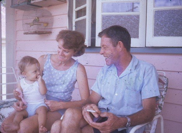 Louisa with grandparents Norman and Joan Kunkel Kelvin Grove 1971