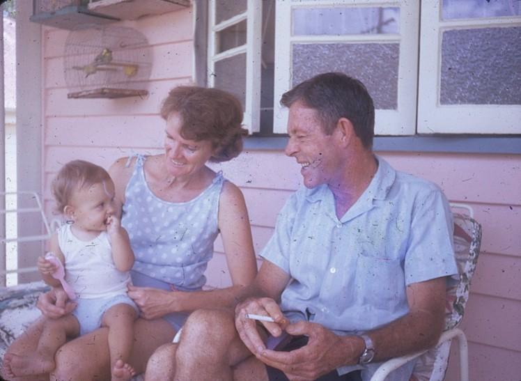 Louisa with grandparents Norman and Joan Kunkel Kelvin Grove 1971