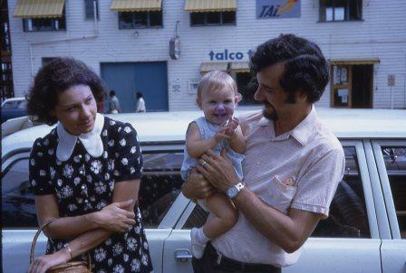 Peter Louisa and Lee at Goroka airport 1972