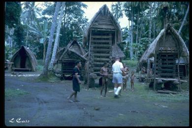Yam huts Trobriands