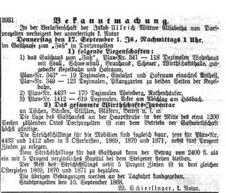 Fass Sale 1868 Aschaffenburger Zeitung