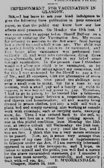 McCORKINDALE letter to editor 26 Mar 1888