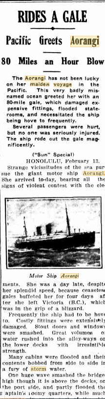 Aorangi maiden voyage The Sun 9 Feb 1925 p1