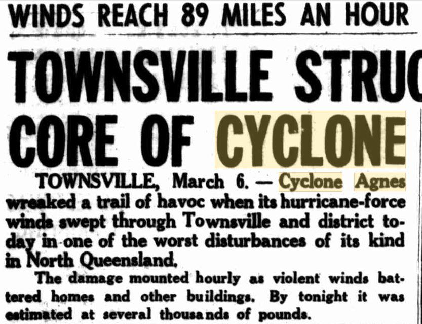 Cyclone Agnes TSV Central Qld Herald 1956