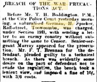 Geman war precautions act 30 Nov 1917 Tmba Chronicle p4