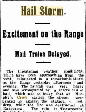 Hailstorm murphys creek 1915 Telegraph