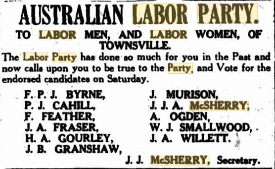 JJ McSherry ALP election