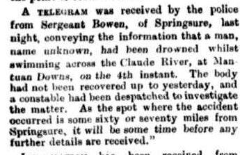 McSHARRY John drowned Morning Bulletin 8 Mar 1887