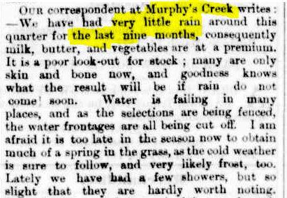 Murphys Creek drought Bne Courier 24 Apr 1877 p3
