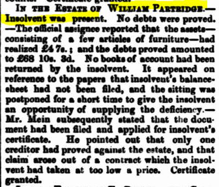 Partridge insolvency 1873
