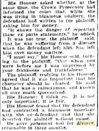 W T Kunkel divorce Telegraph 30 Juy 1929