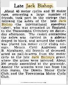 BISHOP Jack funeral Bris Courier 19 June 1933p13