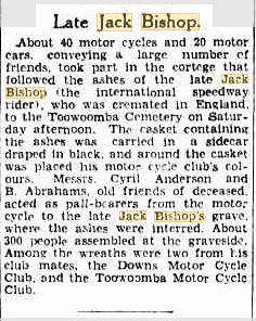 BISHOP Jack funeral Bris Courier 19 June 1933p13