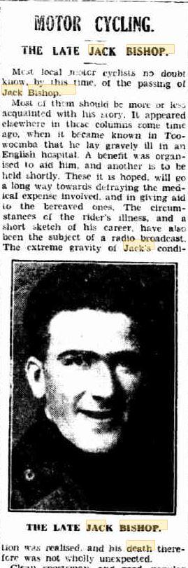 BISHOP Jack obit tmba chronicle 24 Mar 1933 p10