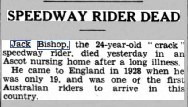 BISHOP Sunderland Daily Echo and Shipping gazette 21 Mar 1933 p12