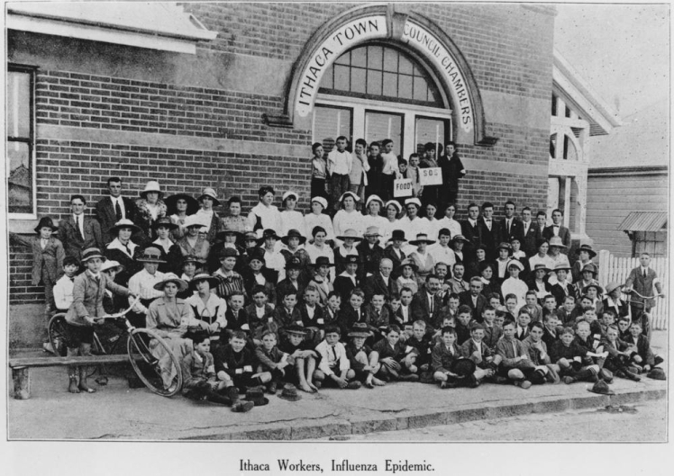 Ithaca workers during the influenza epidemic Red Hill 1919