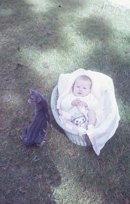 Louisa in basket and Pedro Nth Goroka 1972