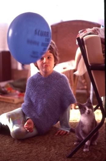 Louisa with Socks and Balloon 1978 Xmas