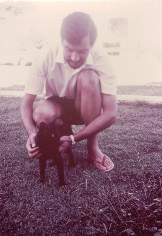 Peter and cat Toowong 1969