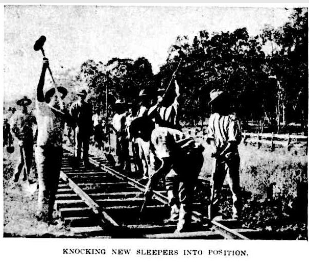 Railway knocking sleepers into posn Qlder 4 Feb 1899 p214