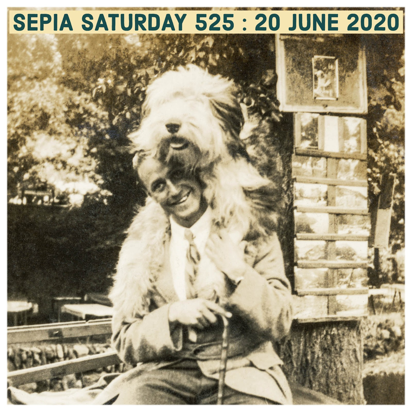 Unknown Man With A Large Dog On His Head (Sepia Saturday 525)