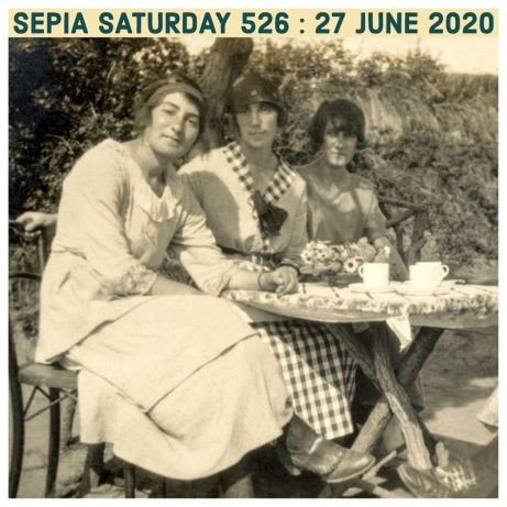 Three Girls Taking Tea : SEpia Saturday 526