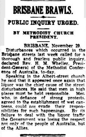 Brisbane brawls Cairns Post 30 Nov 1942 p4