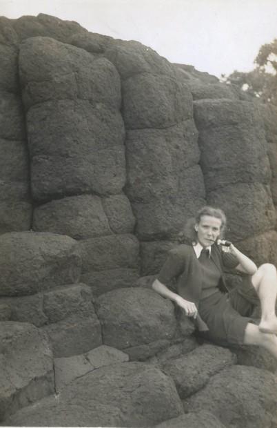 KUNKEL Joan 1948 at beach on honeymoon