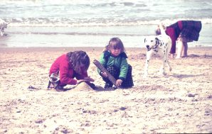 Louisa and rach beach in Holland 1977