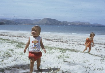 Louisa and Rachel enjoy Ela Beach 1974
