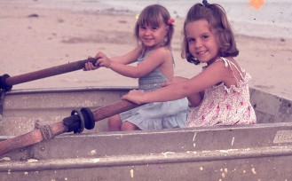 Louisa & Rach rowing Ela Beach 1977