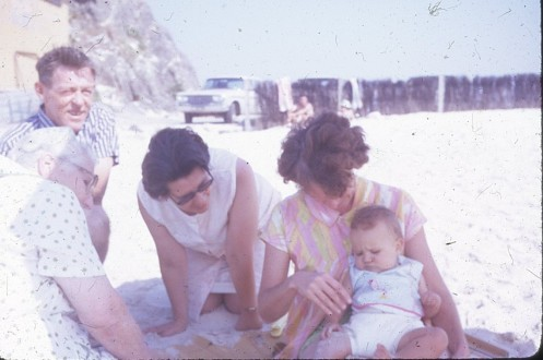 Norman and Joan Kunkel with Louisa and Nan and Olive Cass Currumbin prob 1972