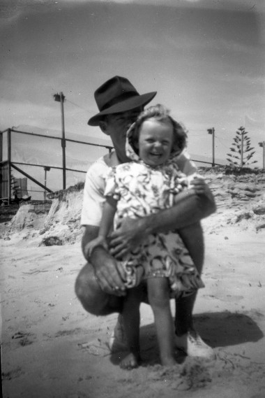 Pauleen and Norman Kunkel at the beach c1952 or 53