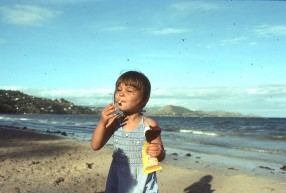 Rach at Ela Beach with ice cream 1977