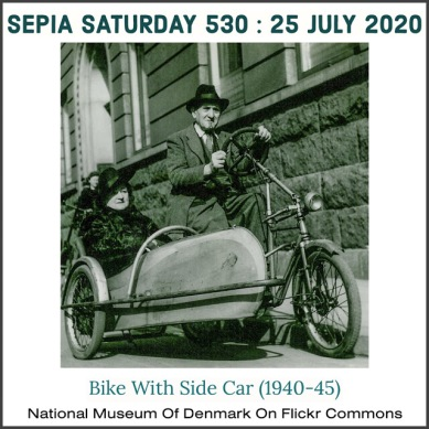 Sepia Saturday 530 : Bike With Side Car (1940s)