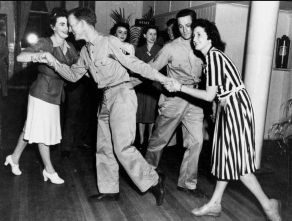 Square dancing Thanksgiving 1943